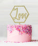 Hexagon Love Acrylic Cake Topper Glitter Gold