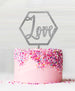Hexagon Love Acrylic Cake Topper Glitter Silver