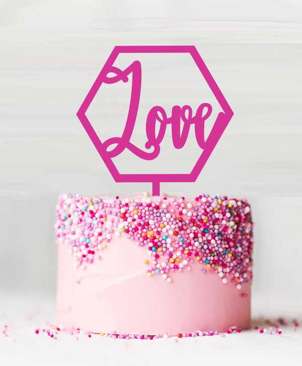 Hexagon Love Acrylic Cake Topper Hot Pink