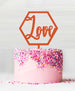 Hexagon Love Acrylic Cake Topper Orange