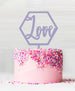 Hexagon Love Acrylic Cake Topper Parma Violet