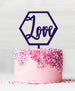 Hexagon Love Acrylic Cake Topper Dark Purple