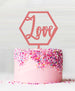 Hexagon Love Acrylic Cake Topper Raspberry Sorbet