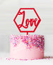 Hexagon Love Acrylic Cake Topper Red