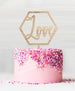 Hexagon Love Wood Cake Topper