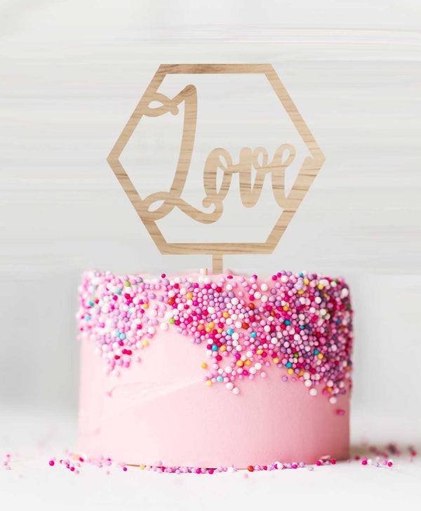 Hexagon Love Birch Wood Cake Topper