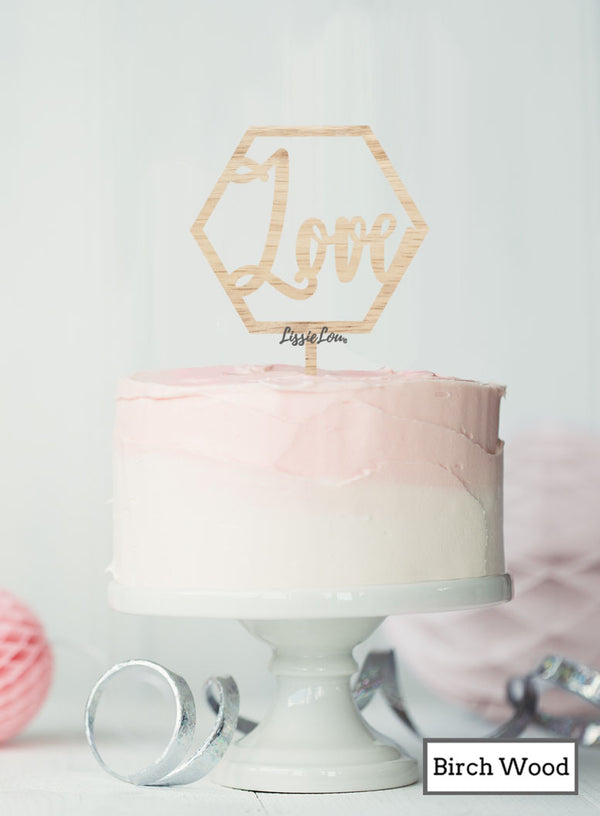 Love Hexagon Cake Topper Premium 3mm Birch Wood