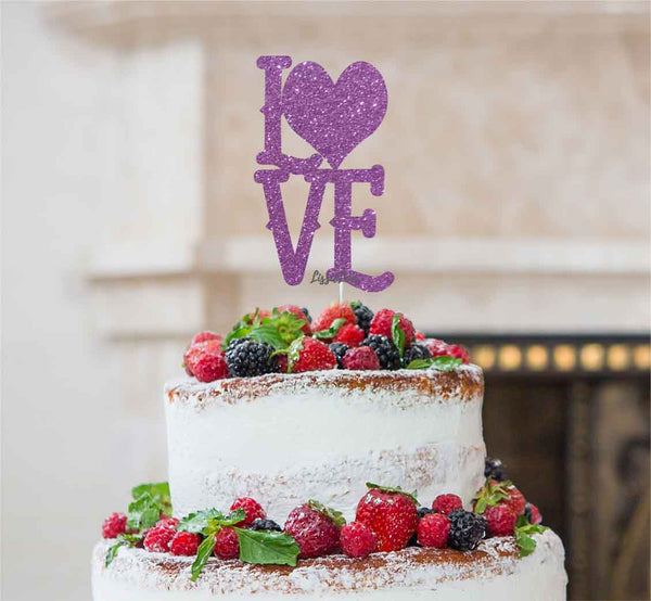 Love with Heart Cake Topper Glitter Card Light Purple