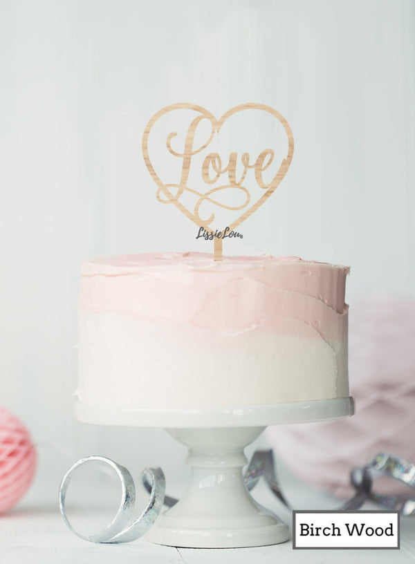 Love in a Heart Cake Topper Premium 3mm Birch Wood