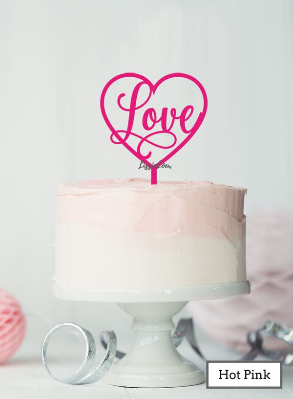 Love in a Heart Wedding Valentine's Cake Topper Premium 3mm Acrylic Hot Pink