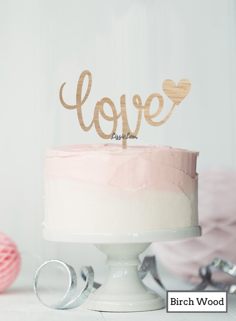 Love with Heart Cake Topper Premium 3mm Birch Wood