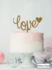 Love with Heart Wedding Valentine's Cake Topper Premium 3mm Acrylic Glitter Gold