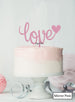 Love with Heart Wedding Valentine's Cake Topper Premium 3mm Acrylic Mirror Pink