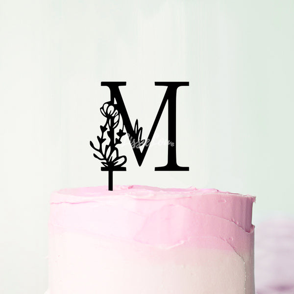 Wedding Floral Initial Letter M Style Cake Topper