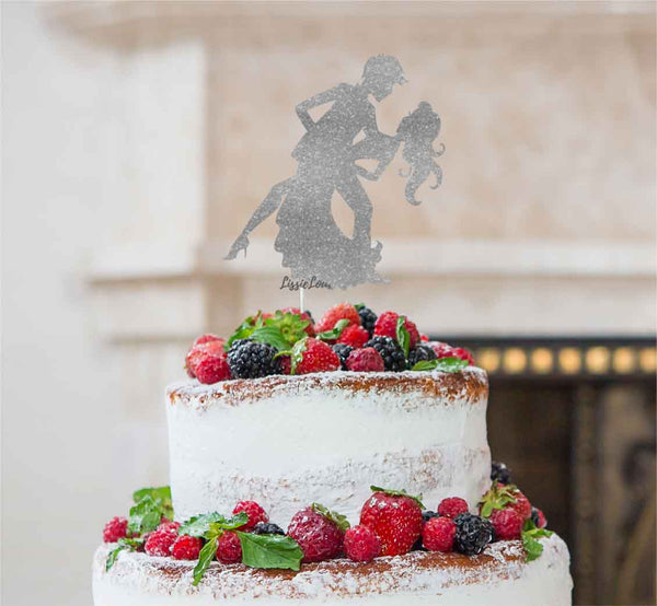 Man and Women Dancing Silhouette Wedding Cake Topper Glitter Card Silver