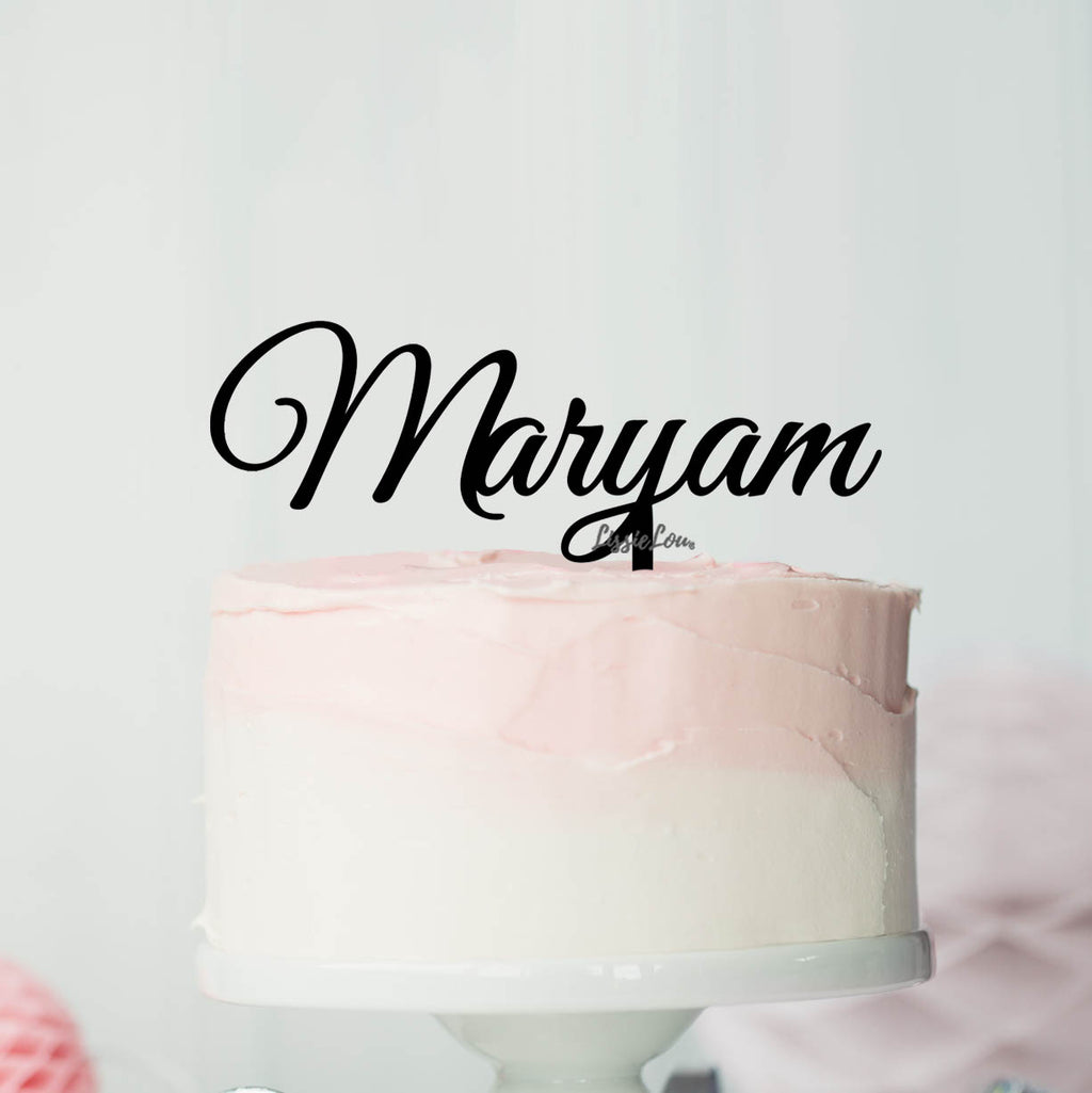 Maryam Font Style Name Cake Topper Premium 3mm Acrylic or Birch Wood