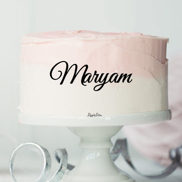 Maryam Font Style Name Cake Motif Premium 3mm Acrylic or Birch Wood
