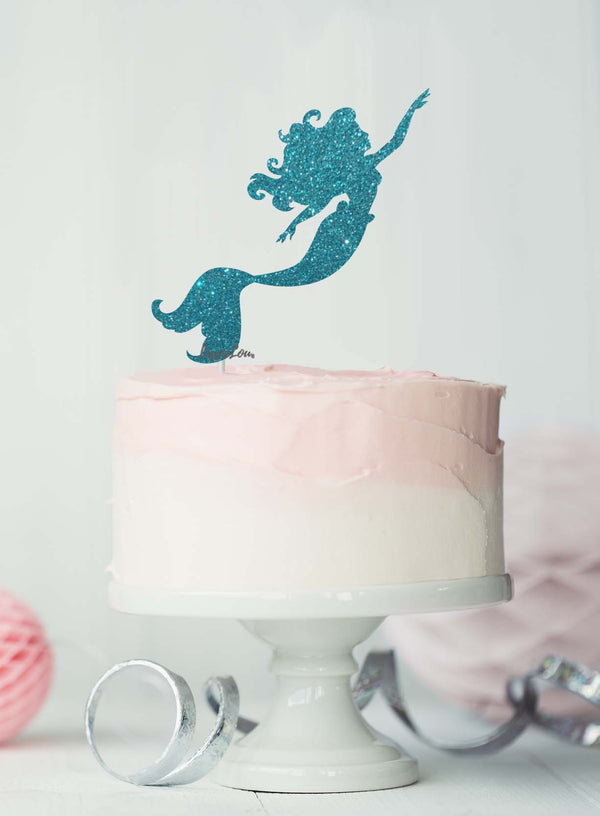 Mermaid Birthday Cake Topper Glitter Card Light Blue