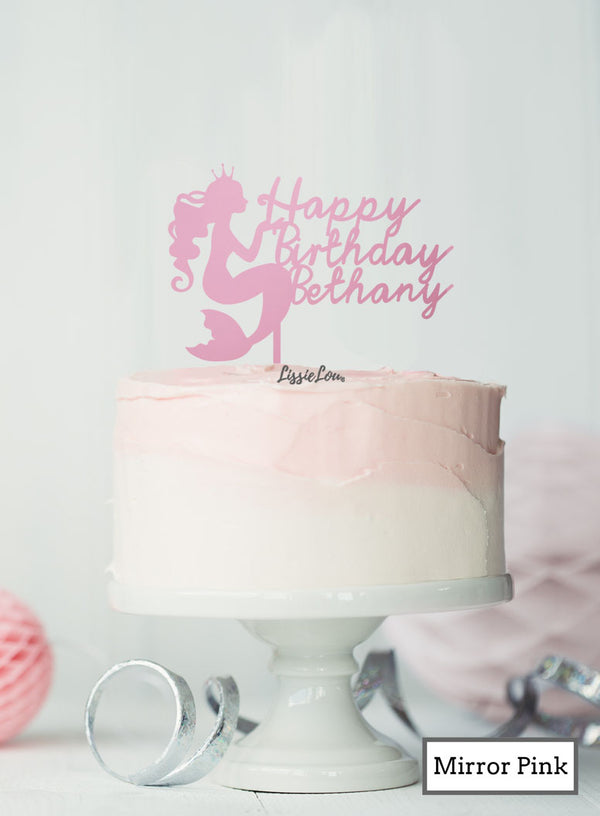 Bespoke Happy Birthday Mermaid with Name Cake Topper