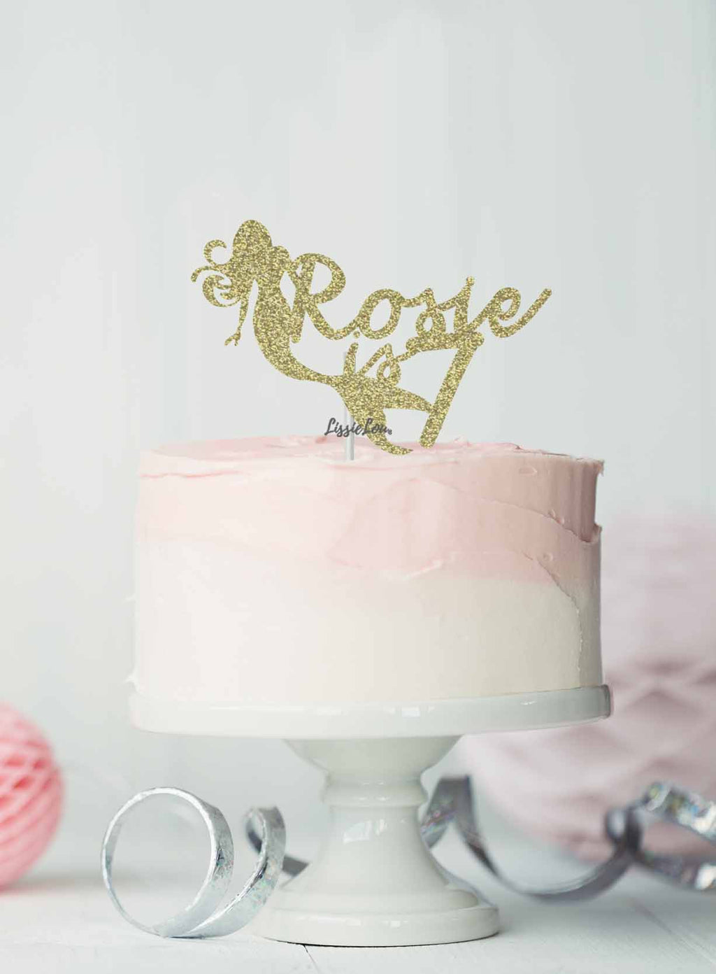 Bespoke Mermaid with Name and Age Cake Topper Glitter Card