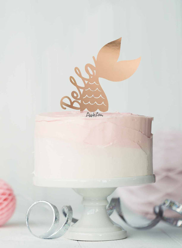 Bespoke Mermaid Tail with Name Cake Topper Mirror Card Mirror Rose Gold