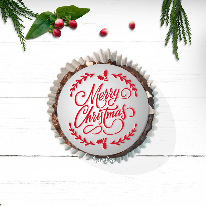 Merry Christmas Wreath Cupcake Stencil - Cupcake Size Design