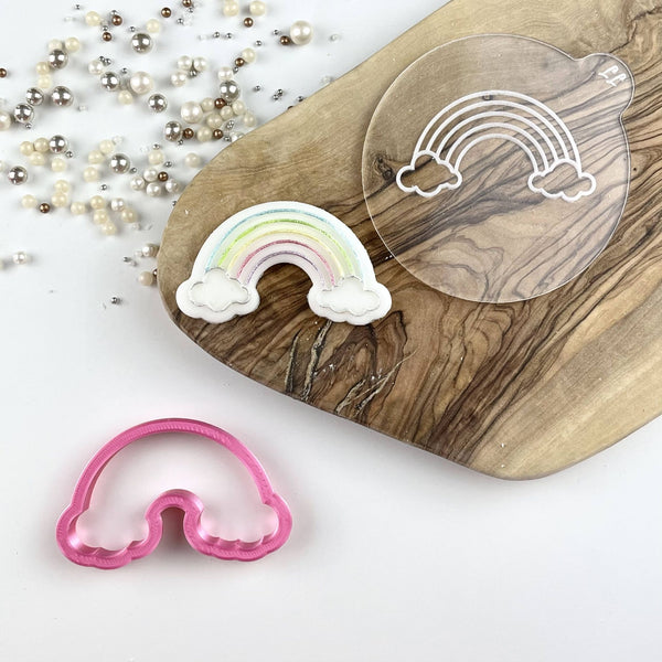 Mini Rainbow with Clouds St Patrick's Day Cookie Cutter and Embosser