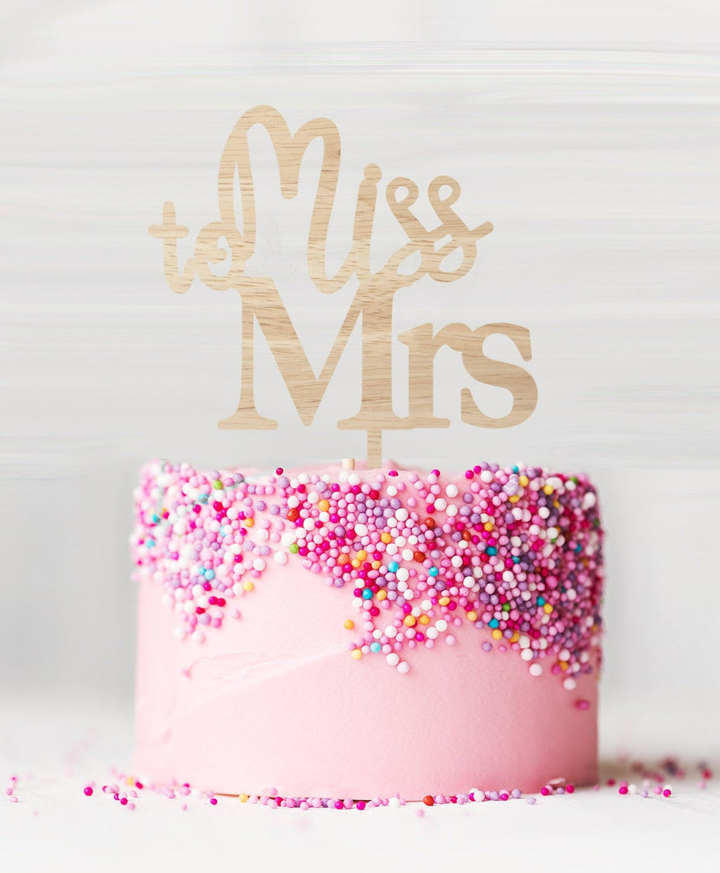 Miss to Mrs Cake Topper Birch Wood
