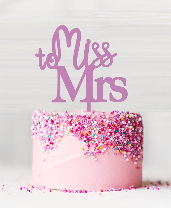 Miss to Mrs Acrylic Cake Topper Sour Grape