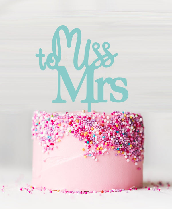 Miss to Mrs Acrylic Cake Topper Spearmint Green