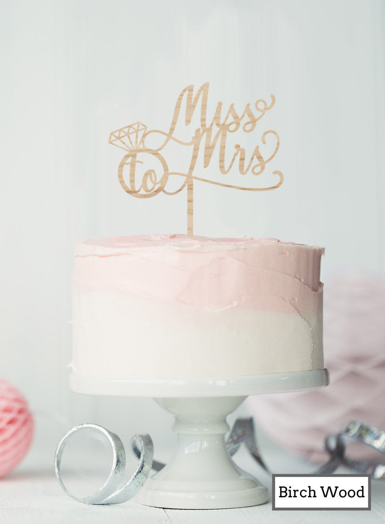 Miss to Mrs with Ring Hen Party Cake Topper Premium 3mm Birch Wood