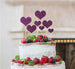 Heart Mixed Sized Cake Topper Set of 7 Cake Topper Glitter Card Dark Purple