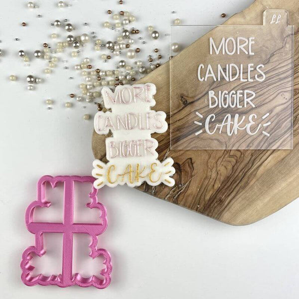 Swirls and Curls More Candles Bigger Cake Birthday Cookie Cutter and Embosser