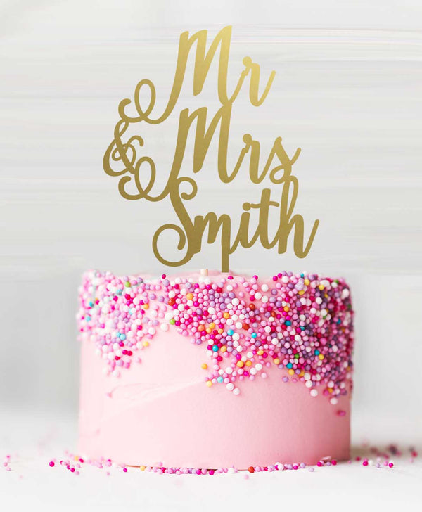 Mr and Mrs Custom Acrylic Cake Topper Mirror Gold