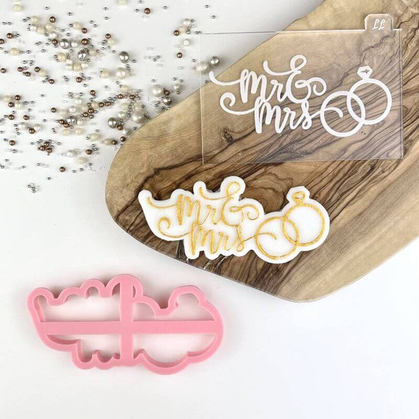 Mr & Mrs Elegant Script with Wedding Rings Cookie Cutter and Embosser