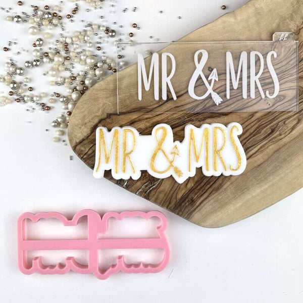 Mr & Mrs in a Line with Arrow Wedding Cookie Cutter and Embosser