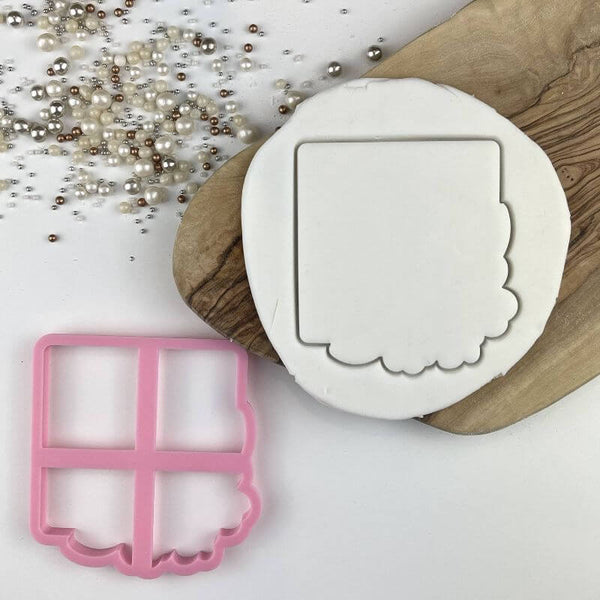 Mr & Mrs in Square with Flowers Wedding Cookie Cutter