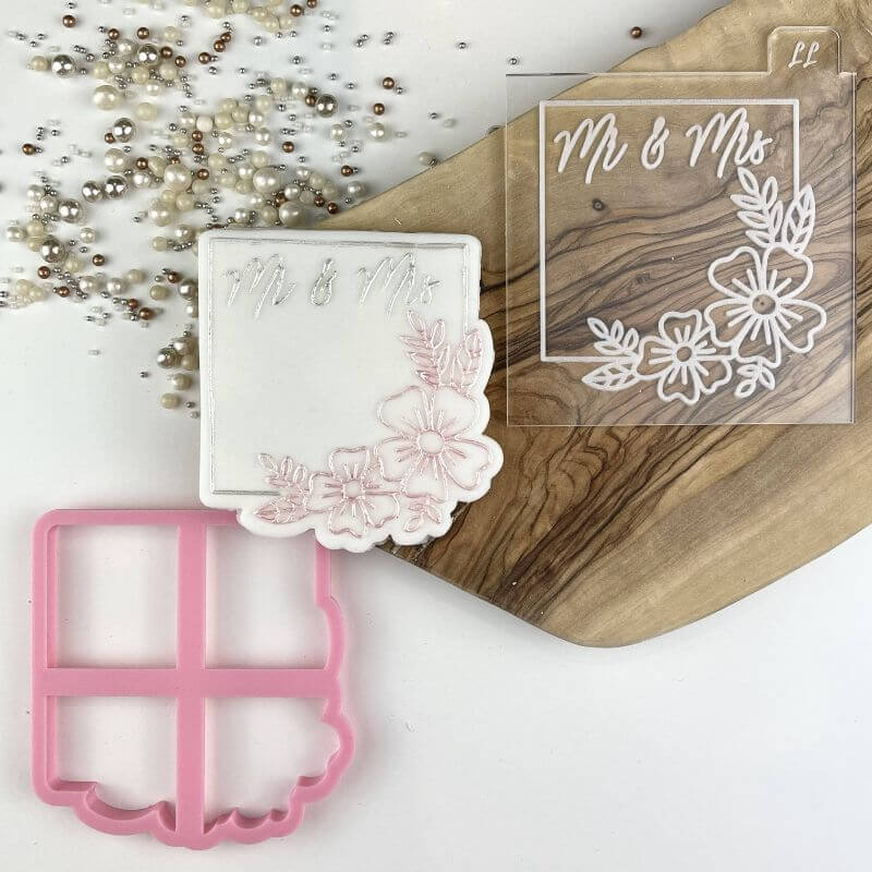 Mr & Mrs in Square with Flowers Wedding Cookie Cutter and Embosser