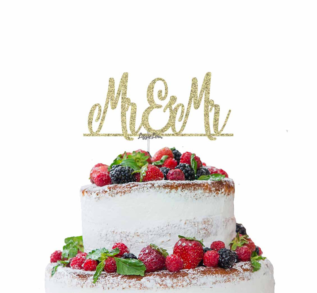 Mr and Mr Line Same Sex Wedding Cake Topper Glitter Card Gold