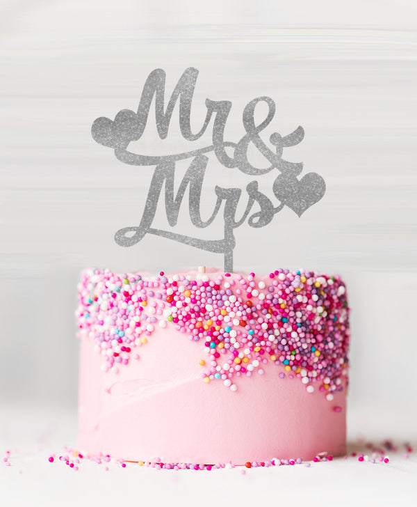 Mr and Mrs with Hearts Acrylic Cake Topper Glitter Silver