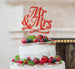 Mr and Mrs Swirly Cake Topper Glitter Card Red