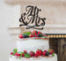 Mr and Mrs Swirly Cake Topper Glitter Card Black
