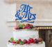 Mr and Mrs Swirly Cake Topper Glitter Card Dark Blue