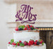 Mr and Mrs Swirly Cake Topper Glitter Card Dark Purple