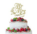 Mr and Mrs Swirly Cake Topper Glitter Card Gold