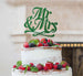 Mr and Mrs Swirly Cake Topper Glitter Card Green