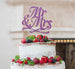 Mr and Mrs Swirly Cake Topper Glitter Card Light Purple