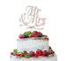 Mr and Mrs Swirly Cake Topper Glitter Card White