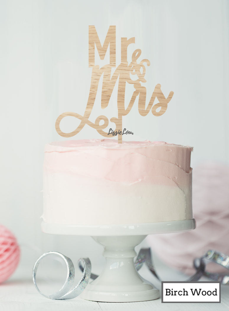 Mr and Mrs Pretty Wedding Cake Topper Premium 3mm Birch Wood