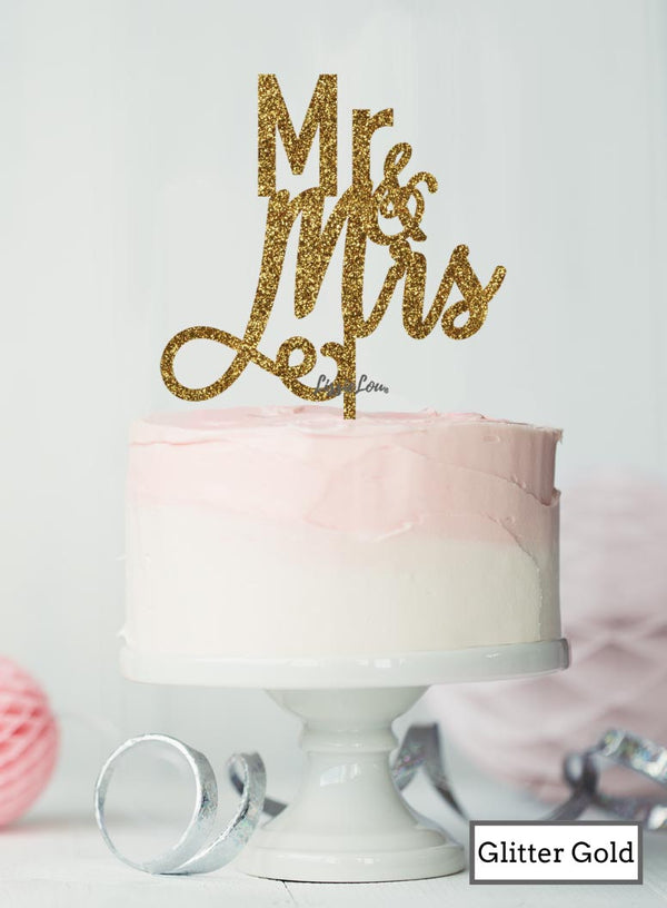 Mr and Mrs Pretty Wedding Cake Topper Premium 3mm Acrylic Glitter Gold